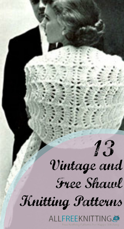 Vintage Shawl Knitting Patterns : 13 Vintage and Free Shawl Knitting Patterns AllFreeKnitting.com