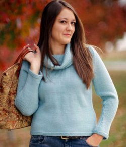 Free Knitting Pattern For Ladies Cowl Neck Sweater : Simple Knit Cowl Neck Sweater AllFreeKnitting.com